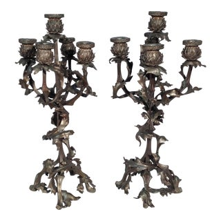 Thistle Themed Candlesticks - A Pair