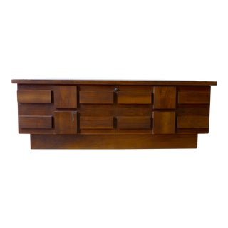 Lane Brutalist Walnut Cedar Chest