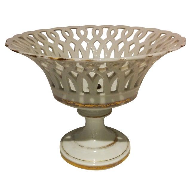 Antique Parisian White Porcelain Fruit Basket - Image 1 of 9