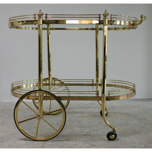 Image of Vintage Regency Brass & Glass Server