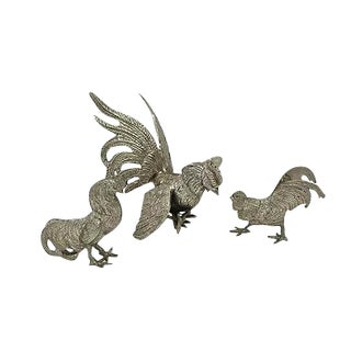 French Silver-Plate Cockerel Table Ornaments - Set of 3
