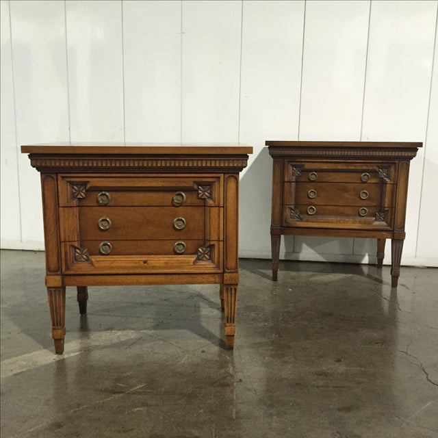 Vintage English Inspired Nightstand - Pair - Image 2 of 6