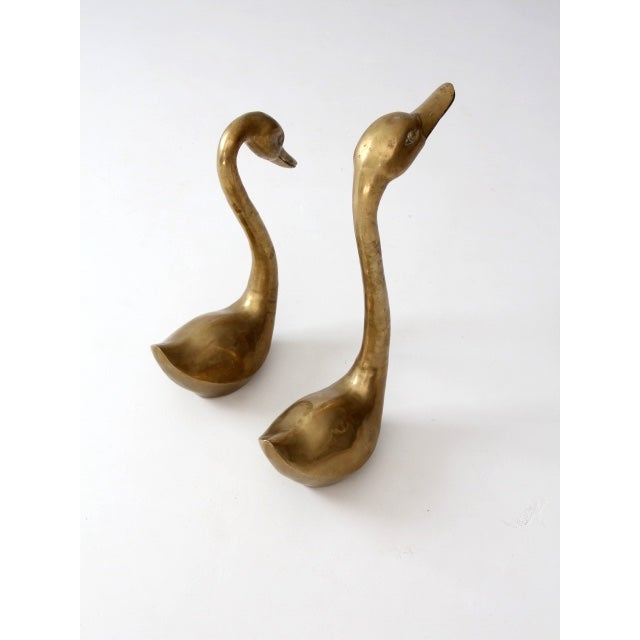 Image of Mid-Century 1960s Brass Swans - A Pair