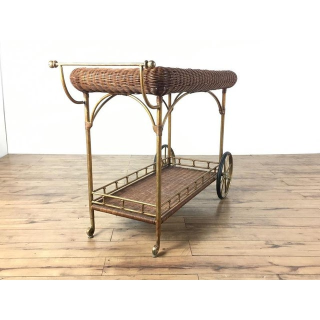 Vintage Wicker Wrapped Bar Cart - Image 4 of 7