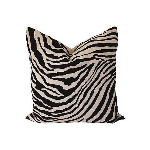 Image of Zebra Print Linen Pillow