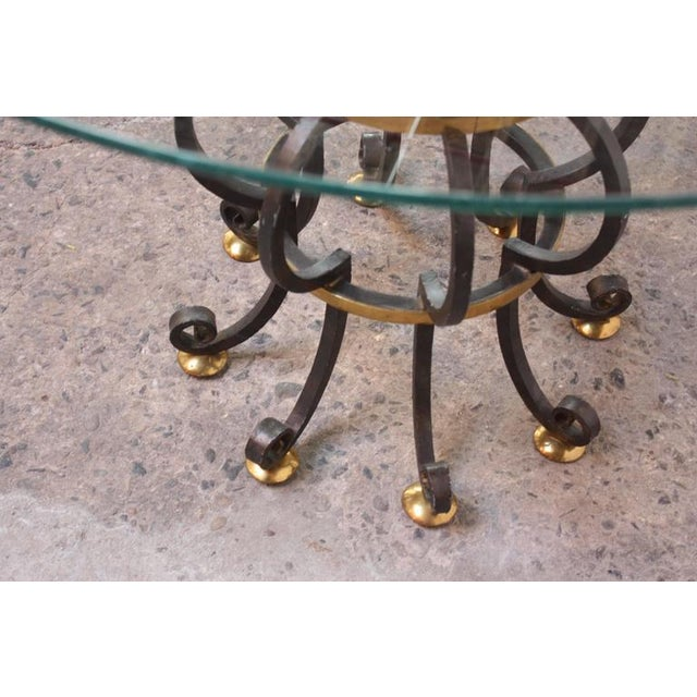 Hollywood Regency Style Brass and Steel Center Table after Maitland-Smith - Image 9 of 9