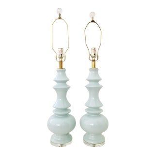 Ceramic Robins Egg Blue & Lucite Lamps - A Pair