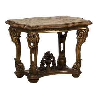 Splendid Gilded Wood Table from the Belle Epoque period in Italy c. 1890