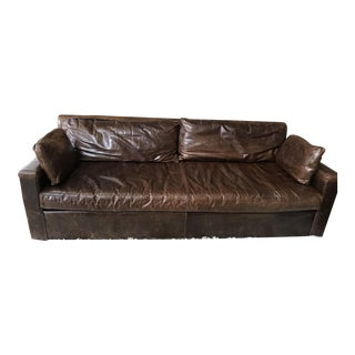 Restoration Hardware Belgian Track Arm Leather Sofa