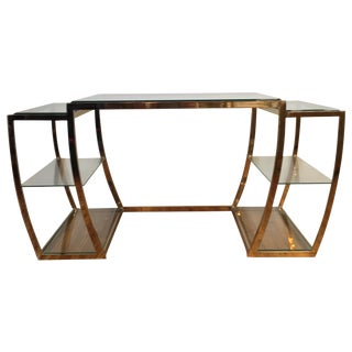 Rare Modernist Brass & Glass Desk or Console Table