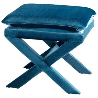 Upholstered Blue Velvet X-Bench