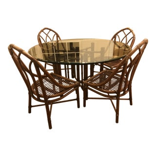 Mid-Century Cottage Cane & Glass Dining Set