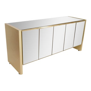 Ello Credenza in Brass and Bronze-Tinted Mirror