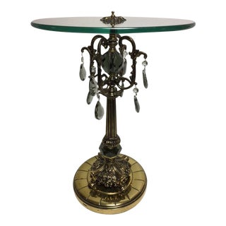 Hollywood Regency Brass Prism Table