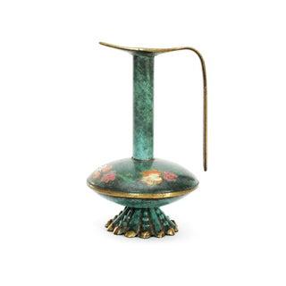 Israeli Painted Brass Vase