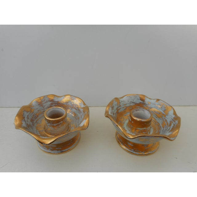 Blue And Gold Stangl Candleholders - Pair - Image 2 of 3