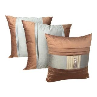 Brown, Grey & Taupe Silk Pillows - Set of 3