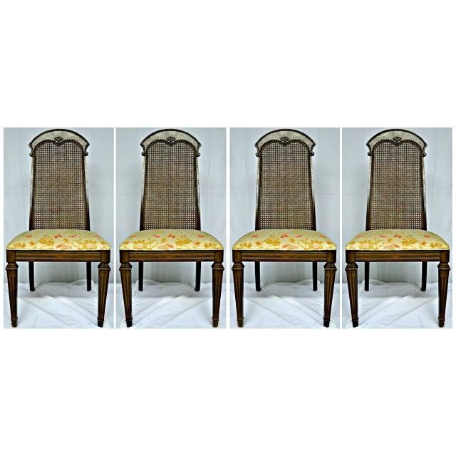 Wicker High Back Wooden Chairs- Set of 4 - Image 2 of 6