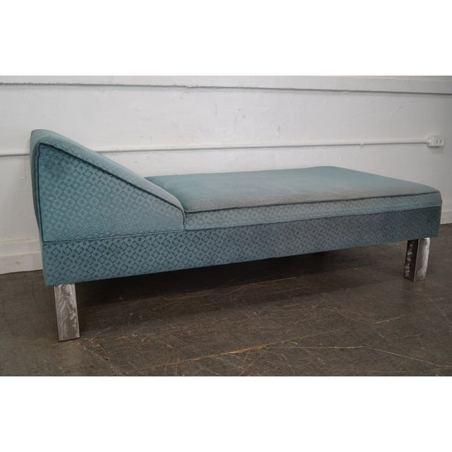 Image of Studio Crafted Brushed Steel Framed Upholstered Chaise Lounge