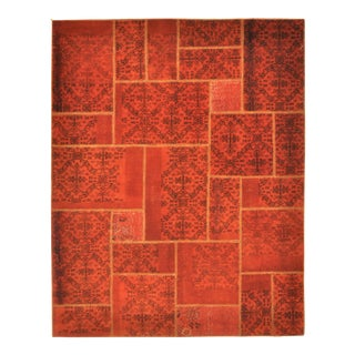 Turkish Over-Dyed Red Patchwork Area Rug - 6' X 7'7""
