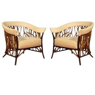Stunning Pair of Rattan Club Chairs in Parchment Leather