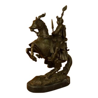 Bold Knight on Horse Bronze Sculpture on Marble Base Statue