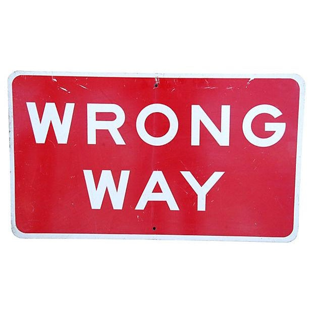 Industrial Authentic Metal Wrong Way Street Sign - Image 1 of 2