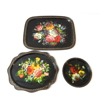 Russian Hand-Painted Floral Trays - Set of 3
