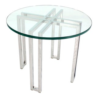 Mid-Century Modern Round Chrome Base and Glass-Top Side Table