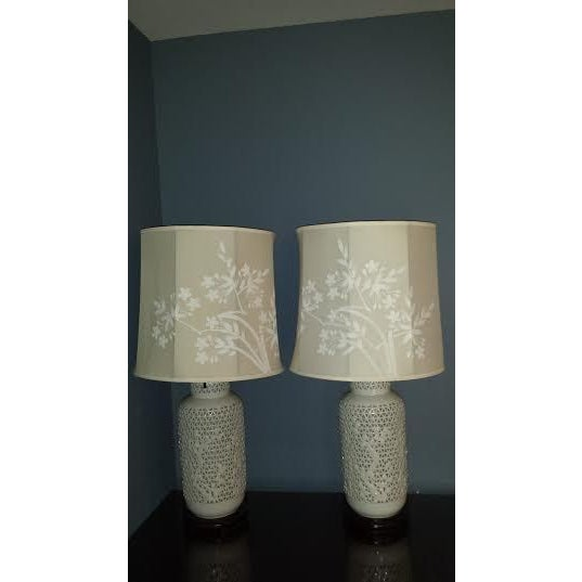 Reticulated Blanc de Chine Lamps - A Pair - Image 2 of 6