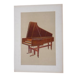 Antique Musical Instruments Lithograph,Harpsicord