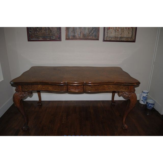 Image of Antique Burled Walnut Dining Table