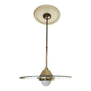 Mid-Century Brass & Glass Pendant Lamp