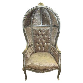 Mid-Century Velour Canopy Chair