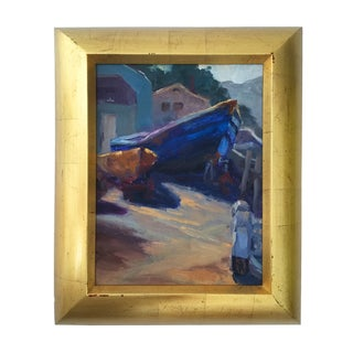 """Dry Docked in Marshall"" Nautical Oil Painting"