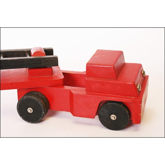 Vintage Hand Carved Wood Toy Fire Truck & Ladder Company - Image 8 of 11