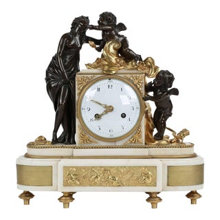 French Figural Gilt and Patinated Bronze Mantel Clock, 19th Century