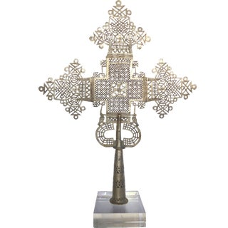 Ethiopian Coptic Cross on Lucite Base
