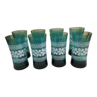 Aquamarine Flower Motif Glasses - Set of 8