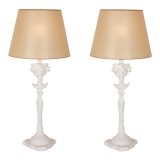 Pair of Plaster Ram's Head Table Lamps, after Gibbings