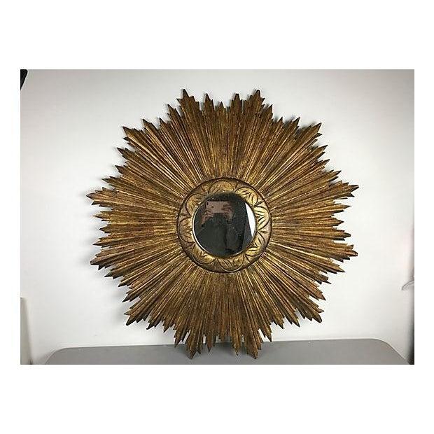 French Wood Sunburst Mirror - Image 2 of 4