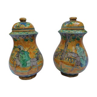Hand-Painted Orange Chinese Emperor Jars - A Pair