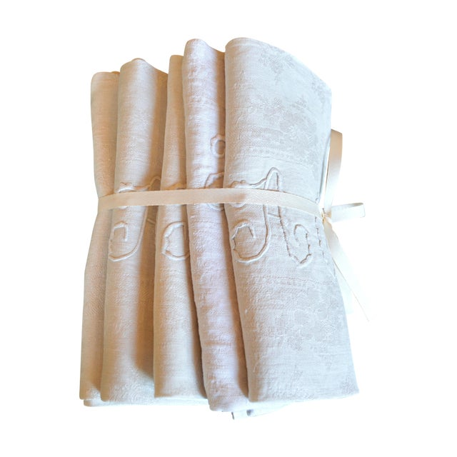 Antique French Dinner Napkins - Set of 5 - Image 1 of 5