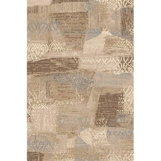 Brown Blue Faded Transitional Rug With Damask 5'3''x 7'7''