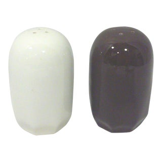 Mikasa Modernist Brown & Ivory Ceramic Shakers - A Pair
