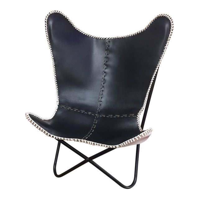 black leather butterfly chair chairish. Black Bedroom Furniture Sets. Home Design Ideas