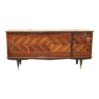 Long French Art Deco ZIG ZAG Design Exotic Macassar Ebony Sideboard / Buffet / Bar, circa 1940s