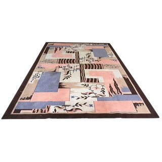 Antique French Art Deco Geometric Rug- 7′ × 10′7″