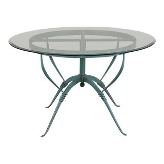 Art Deco French Painted Iron Table circa 1930, Raymond Subes, Maison Dominique