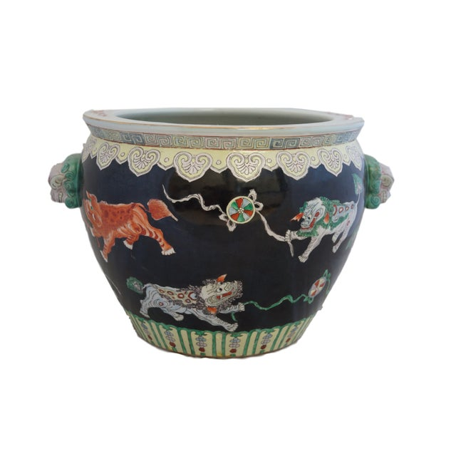 Vintage black chinese fish bowl planter chairish for Chinese fish bowl planter